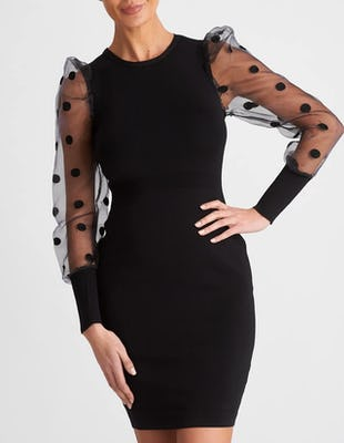 Black Knitted Bodycon Midi Dress with Spotted Mesh Sleeves