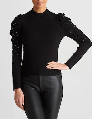 Black Knitted Jumper with Ruched Sleeves and Studded Embellishments