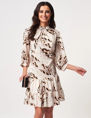 Ivory Satin Leopard Print Drop Hem Mini Dress