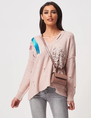 Nude Ripped Jumper with Metallic Detailing