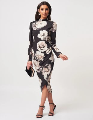 Black Floral Print High Neck Midi Dress with Thigh Split