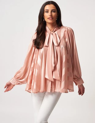 Nude Chiffon Striped Pussybow Blouse