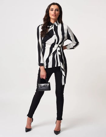 Black and White Striped Tie Waist Shirt