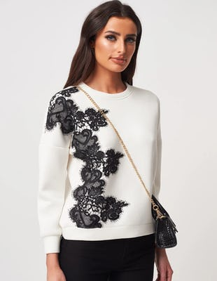 White and Black Lace Embroidered Sweatshirt