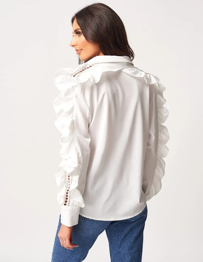 White Shirt with Ruffle Sleeve Details