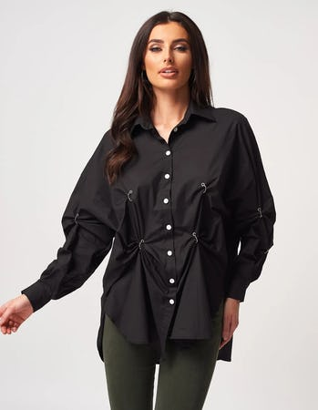 Black Hoop Embellished Shirt