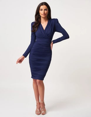 Navy Ruched Long Sleeve Midi Dress