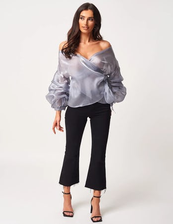 Blue Metallic Chiffon Off the Shoulder Tie Waist Blouse