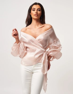 Pink Metallic Chiffon Off the Shoulder Tie Waist Blouse