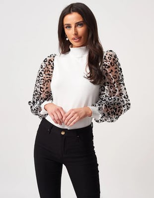 White Knitted Jumper with Cheetah Print Organza Sleeves