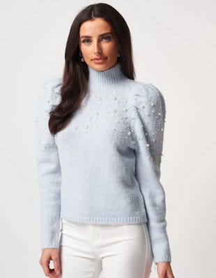 Blue High Neck Beaded Knitted Jumper