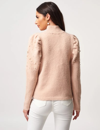 Pink High Neck Beaded Knitted Jumper