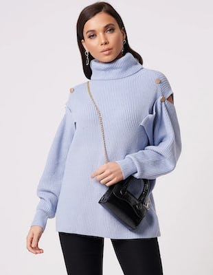 Blue Knitted Roll Neck Jumper with Cut-Out Shoulders