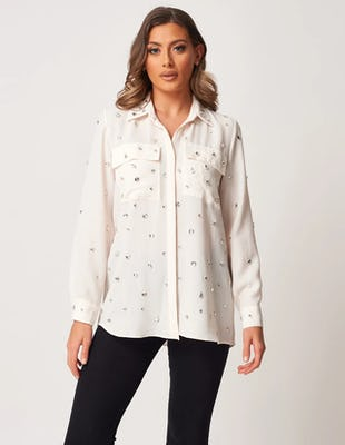 White Button-Through Shirt with Embellishments