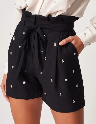 Black Paper-Bag Waist Shorts with Embellishments
