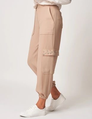 Beige Cuffed Trousers with Pockets