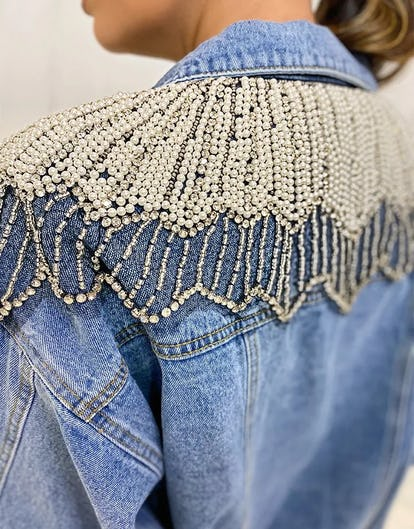 Pearl and Diamante Embellished Denim Jacket