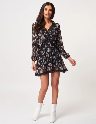 Black Floral Print Ruched Mini Dress with Lace Trim