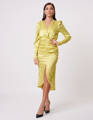 Lime Green Satin Floral Print Ruched Long Sleeve Midi Dress