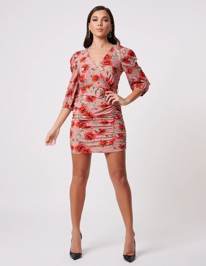 Pink Floral Print Ruched Mini Dress