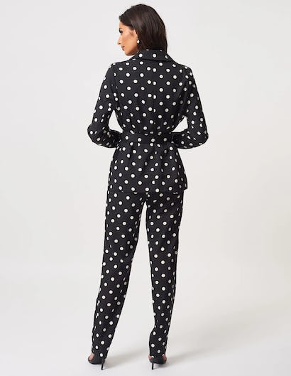 Black and White Polka Dot Suit Jacket with Tie Waist