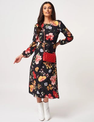 Black Floral Long Sleeve Midaxi Dress