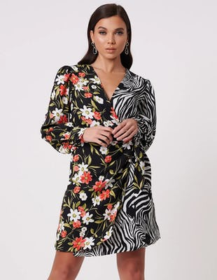 Black Floral and Zebra Print Wrap Midi Dress