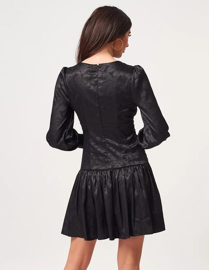 Black Floral Print Mini Dress with Lace up Bodice Detailing