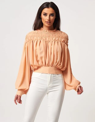Sand High Neck Ruched Blouse with Tie Waist