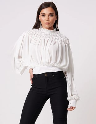 White High Neck Ruched Blouse with Tie Waist
