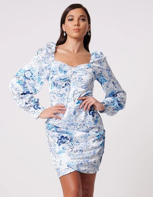 Blue Floral Print Long Sleeve Mini Dress