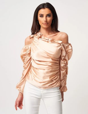 Champagne Satin Asymmetric Ruched Blouse