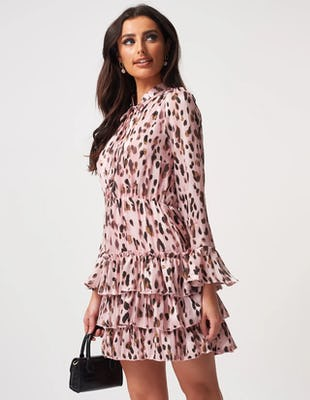 Pink Leopard Print Mini Dress with Frill Skirt Detailing