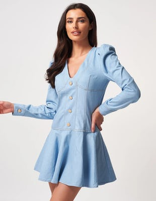 Puff Sleeved Denim Skater Mini Dress
