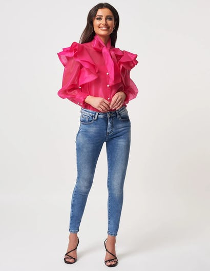 Fuchsia Organza Frill Blouse with Exaggerated Necktie
