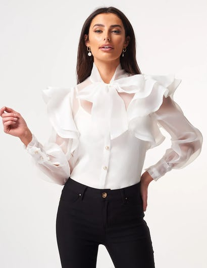 White Organza Frill Blouse with Exaggerated Necktie