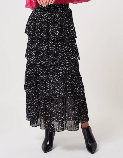 Black Spotted Tiered Ruffle Maxi Skirt
