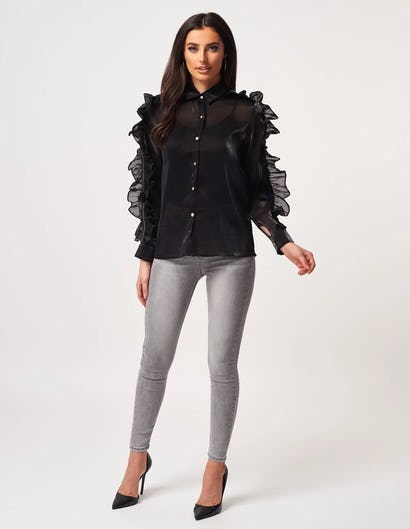 Sheer Black Frill Blouse with Zip Detailing