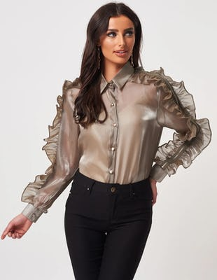 Sheer Khaki Frill Blouse with Zip Detailing