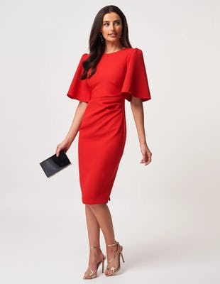 Red Crepe Ruched Midi Dress with Wide Sleeves