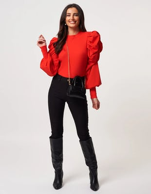 Red Exaggerated Ruffle Knitted Jumper