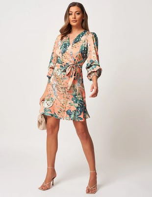 Coral Tropical Print Wrap Mini Dress
