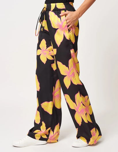 Black and Yellow Printed Trouser