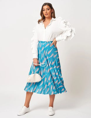Turquoise Pleated Skirt
