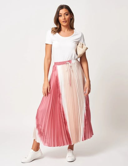 Nude and Pink Sun-Ray Pleated Skirt