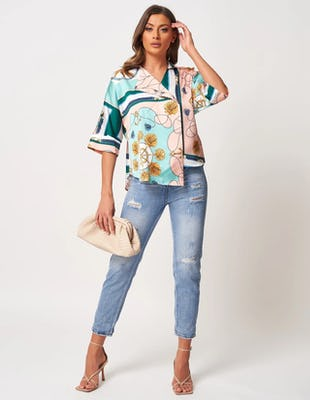 Nude and Turquoise Printed Top