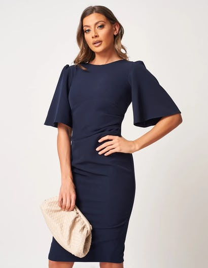 Navy Crepe Ruched Midi Dress with Wide Sleeves