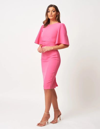 Pink Crepe Ruched Midi Dress with Wide Sleeves