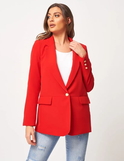 Red Blazer with Gold Embellishments