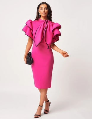 Fuchsia High Neck Scuba Ruffle Bodycon Dress with Detachable Bow